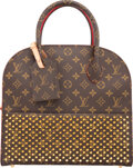 Luxury Accessories:Bags, Louis Vuitton by Christian Louboutin Celebrating Monogram Collection Classic Monogram Canvas & Red Calf Hair Shopping Bag. ...