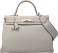 Luxury Accessories:Bags, Hermes 35cm Blue Lin Clemence Leather Retourne Kelly Bag withPalladium Hardware. P Square, 2012. ExcellentCondition...