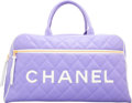 "Luxury Accessories:Bags, Chanel Purple Quilted Lambskin Leather Weekender Travel Bag withGold Hardware. Very Good Condition. 19"" Width x 10""H..."