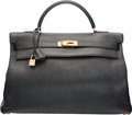 "Luxury Accessories:Bags, Hermes 40cm Black Clemence Leather Retourne Kelly Bag with GoldHardware. A Square, 1997. Very Good Condition. 15.5""Width..."