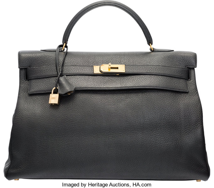 fc0d478036a6 Hermes 40cm Black Clemence Leather Retourne Kelly Bag with