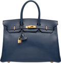 "Luxury Accessories:Bags, Hermes 35cm Blue Marine Ardennes Leather Birkin Bag with GoldHardware. F Square, 2002. Very Good Condition. 14""W..."
