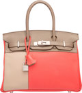 Luxury Accessories:Bags, Hermes Limited Edition 30cm Rose Jaipur Clemence, Etain, & Gris Tourterelle Swift Leather Cascade Birkin Bag with Brushed Pall...