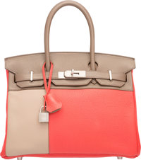 Hermes Limited Edition 30cm Rose Jaipur Clemence, Etain, & Gris Tourterelle Swift Leather Cascade Birkin Bag with Br...