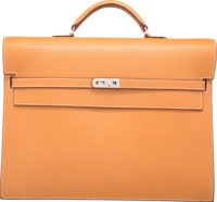Hermes Natural Vache Liegee Leather Kelly Depeches GM Briefcase Bag with Palladium Hardware H Square, 2004<