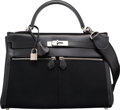 Luxury Accessories:Bags, Hermes Limited Edition 32cm Black Calf Box Leather & ToileOfficier Canvas Kelly Lakis Bag with Palladium Hardware. HSqua...