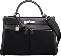 Hermes Limited Edition 32cm Black Calf Box Leather & Toile Officier Canvas Kelly Lakis Bag with Palladium Hardware
