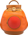 Luxury Accessories:Bags, Hermes Orange H, Vermillion, & Gold Gulliver Leather &Natural Sable Ostrich Sac Sumac Bag with Gold Hardware. TCircle, 1...