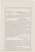 Political:Memorial (1800-present), Abraham Lincoln Assassination: Announcement to the Military....