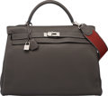 Luxury Accessories:Bags, Hermes 40cm Graphite Clemence Leather Retourne Kelly Bag withPalladium Hardware. O Square, 2011. Very Good toExcelle...