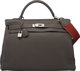Hermes 40cm Graphite Clemence Leather Retourne Kelly Bag with Palladium Hardware O Square, 2011 Very Good to Excelle
