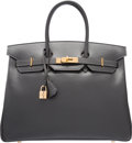 """Luxury Accessories:Bags, Hermes 35cm Graphite Calf Box Leather Birkin Bag with Gold Hardware. I Square, 2005. Very Good Condition. 14"""" Widt..."""