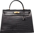 Luxury Accessories:Bags, Hermes 35cm Shiny Black Crocodile Sellier Kelly Bag with GoldHardware. Circa 1940's. Good to Very Good Condition....