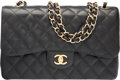 "Luxury Accessories:Bags, Chanel Black Quilted Caviar Leather Jumbo Double Flap Bag with GoldHardware. Excellent to Pristine Condition. 12"" Wid..."