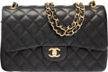 "Luxury Accessories:Bags, Chanel Black Quilted Lambskin Leather Jumbo Double Flap Bag withGold Hardware. Excellent to Pristine Condition. 12""W..."