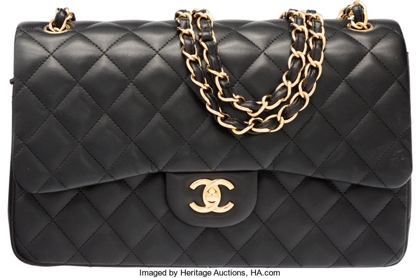 3257ce3febfb4f ... Luxury Accessories:Bags, Chanel Black Quilted Lambskin Leather Jumbo  Double Flap Bag withGold Hardware ...