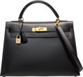 Luxury Accessories:Bags, Hermes 32cm Black Calf Box Leather Sellier Kelly Bag with GoldHardware. U Circle, 1991. Good to Very GoodCondition...