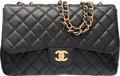 "Luxury Accessories:Bags, Chanel Black Quilted Caviar Leather Jumbo Single Flap Bag with GoldHardware. Very Good Condition. 12"" Width x 8"" Heig..."