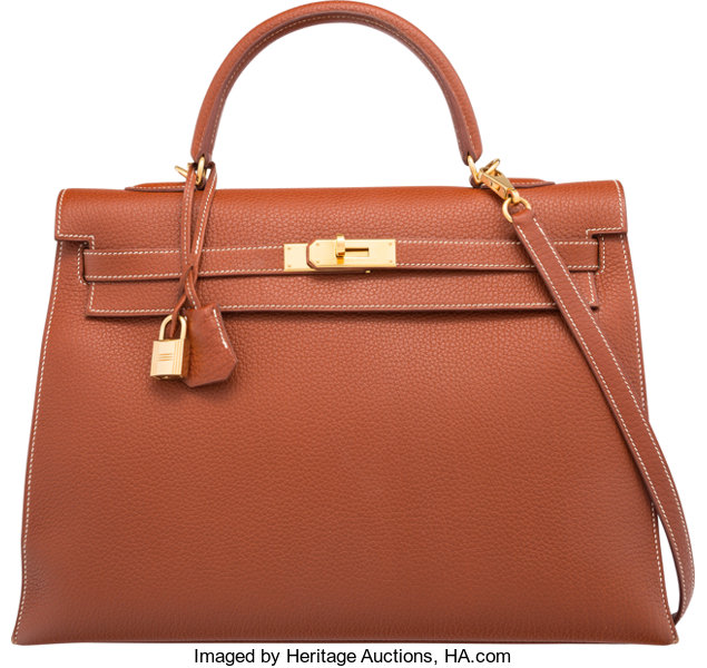 bb5f6ae586b Hermes 35cm Etrusque Ardennes Leather Sellier Mou Kelly Bag