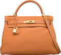 """Luxury Accessories:Bags, Hermes 32cm Gold Togo Leather Retourne Kelly Bag with Gold Hardware. E Square, 2001. Very Good Condition. 12.5"""" Wi..."""