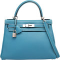 Luxury Accessories:Bags, Hermes 28cm Blue Jean Togo Leather Retourne Kelly Bag withPalladium Hardware. F Square, 2002. Good to Very GoodCondi...