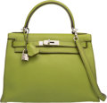 Luxury Accessories:Bags, Hermes 28cm Vert Anis Togo Leather Sellier Mou Kelly Bag with Palladium Hardware. H Square, 2004. Very Good Condition...