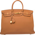 """Luxury Accessories:Bags, Hermes 40cm Gold Togo Leather Birkin Bag with Gold Hardware.Excellent Condition. O Square, 2011. 15.5"""" Width x 11""""Height..."""
