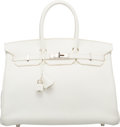 "Luxury Accessories:Bags, Hermes 35cm White Clemence Leather Birkin Bag with PalladiumHardware. N Square, 2010. Excellent Condition. 14"" Width x10..."