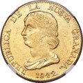 Colombia, Colombia: Republic gold 16 Pesos 1842 BOGOTA-RS MS61 NGC,...
