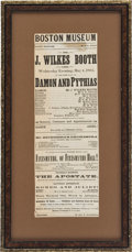 Miscellaneous:Broadside, [Abraham Lincoln]: John Wilkes Booth Playbill....