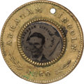 Political:Ferrotypes / Photo Badges (pre-1896), Abraham Lincoln: 1860 Lincoln/Hamlin Campaign Ferrotype....