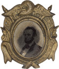 Political:Ferrotypes / Photo Badges (pre-1896), Abraham Lincoln: 1864 Campaign Ferrotype in Fancy Frame....