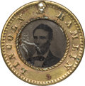 Political:Ferrotypes / Photo Badges (pre-1896), Abraham Lincoln: Lincoln/Hamlin 1860 Campaign Ferrotype....