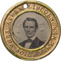 Political:Ferrotypes / Photo Badges (pre-1896), Abraham Lincoln: Oversized Lincoln-Hamlin Ferrotype....