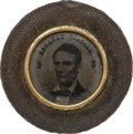 Political:Ferrotypes / Photo Badges (pre-1896), Abraham Lincoln: Lincoln/Hamlin 1860 Campaign Ferrotype withVelvet-covered Frame....