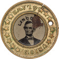Political:Ferrotypes / Photo Badges (pre-1896), Abraham Lincoln: 1864 Lincoln/Johnson Campaign Ferrotype....