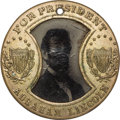 Political:Ferrotypes / Photo Badges (pre-1896), Abraham Lincoln: Distinctive Lincoln/Johnson 1864 CampaignFerrotype....