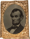 "Political:Ferrotypes / Photo Badges (pre-1896), Abraham Lincoln: Choice 1864 Lincoln ""Gem"" Tintype...."