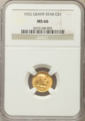 Commemorative Gold, 1922 G$1 Grant Gold Dollar, With Star, MS66 NGC....