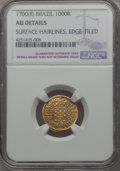 Brazil, Brazil: Pedro II gold 1000 Reis 1700 AU Details (Surface HairlinesEdge Filed) NGC,...