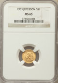 Commemorative Gold, 1903 G$1 Louisiana Purchase, Jefferson Gold Dollar MS65 NGC. NGCCensus: (465/467). PCGS Population (743/686). Mintage: 17,...
