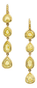 Estate Jewelry:Earrings, Colored Diamond, Gold Earrings. ... (Total: 2 Items)