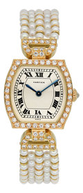 Estate Jewelry:Other, Cartier Lady's Diamond, Cultured Pearl, Gold Watch. ...