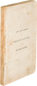 Books:Biography & Memoir, [Abraham Lincoln]. Lives and Speeches of Abraham Lincoln andHannibal Hamlin. Columbus: 1860. First edition....