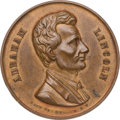 Political:Tokens & Medals, Abraham Lincoln: Large 1860 Campaign Medal in Rarely-seen Copper....