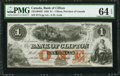 Canadian Currency: , Clifton, PC- Bank of Clifton $1 Oct. 1, 1859 Ch. # 125-10-04-02....