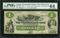 Canadian Currency: , Moncton, NB- Westmorland Bank $1 Aug. 1, 1861 Ch. # 800-12-02RRemainder. ...