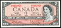 "Canadian Currency: , BC-38b $2 1954 with ""Radar"" Serial Number 0202020. ..."