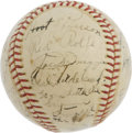 Autographs:Baseballs, 1939 New York Yankees Team Signed Baseball. The World Champions of the historic Centennial Season. Tremendous Hall of Fame...