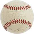 Autographs:Baseballs, 1939 Cincinnati Reds Team Signed Baseball. The National League Champs of the historic Centennial season! Stacked on the si...